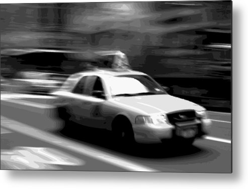 Taxi Metal Print featuring the photograph Nyc Taxi Bw16 by Scott Kelley
