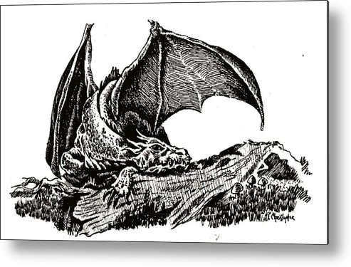 Fantasy Ink Dragon Metal Print featuring the drawing Sleeping Dragon by Leslie Bookout