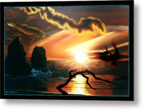 Tandem Metal Print featuring the painting Tandem by James Mulvania