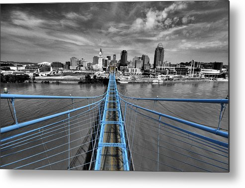 Roebling Bridge Metal Print featuring the photograph South Tower - Selective Color by Russell Todd