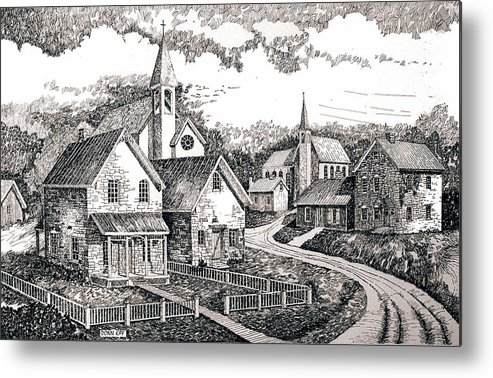 Western Art Sunday Houses Metal Print featuring the drawing Sunday Houses Along Old Church Street by Donn Kay