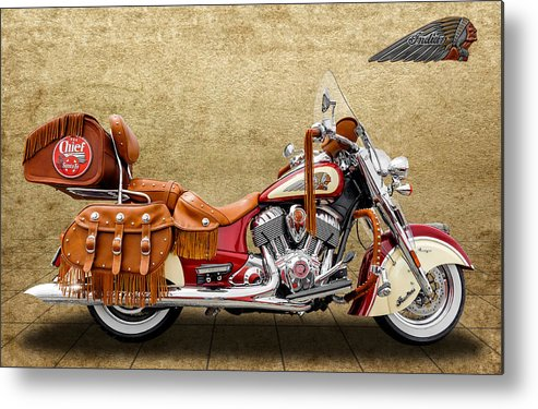 Frank J Benz Metal Print featuring the photograph 2015 Indian Chief Vintage Motorcycle - 2 by Frank J Benz