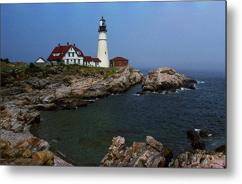 America Metal Print featuring the photograph Lighthouse - Portland Head Maine by Frank Romeo