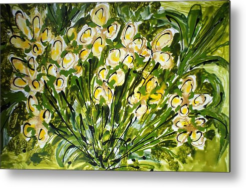 Flowers Metal Print featuring the painting Divine Blooms by Baljit Chadha
