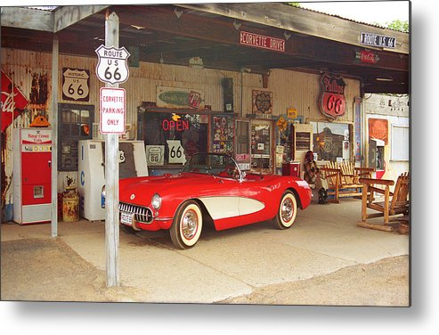 66 Metal Print featuring the photograph Route 66 Corvette by Frank Romeo