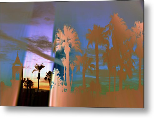 Fog. Palm Trees Metal Print featuring the photograph As The Fog Lifts by Irma BACKELANT GALLERIES