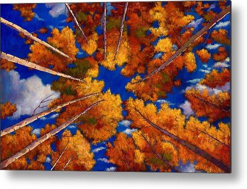Autumn Aspen Metal Print featuring the painting Aspen Vortex by Johnathan Harris
