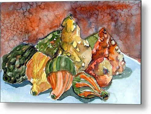Gourds Metal Print featuring the painting Autumn Gourds by Mindy Newman