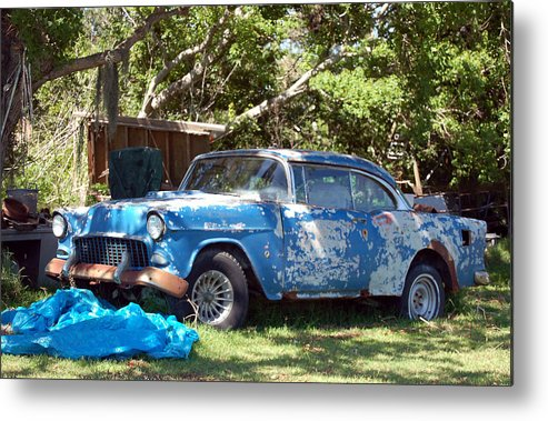 Cars Metal Print featuring the photograph Blue Car On The Bayou by Heather S Huston