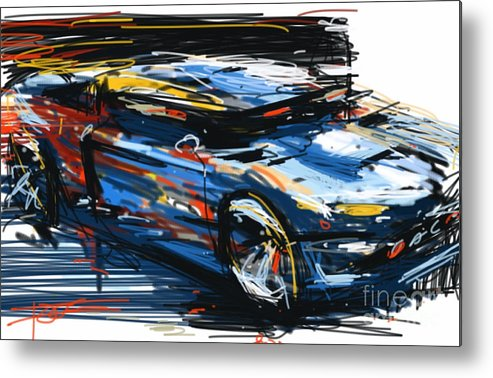 Car Metal Print featuring the painting Blue Car by Peter Fogg