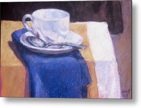 Still Life Painting Metal Print featuring the painting Blue Napkin by Dolores Holt