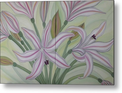 Marinella Owens Metal Print featuring the painting Brunsvigia Grandiflora by Marinella Owens