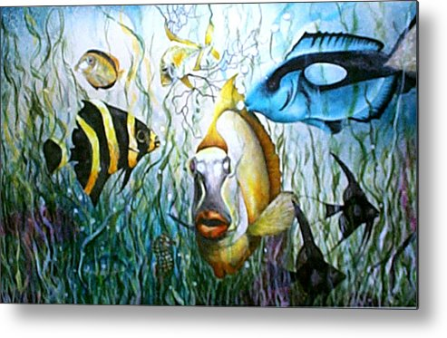 Fish Metal Print featuring the print Bubba Fish And Friends by JoLyn Holladay