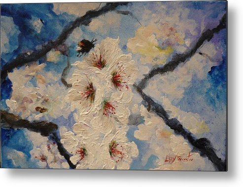 Bumble Bee Metal Print featuring the painting Busy Bumble Bee And Blossom. by Lizzy Forrester