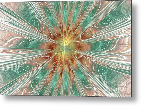 Digital Metal Print featuring the digital art Center Hot Energetic Explosion by Deborah Benoit