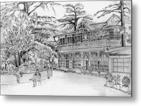 Landscape Metal Print featuring the drawing Charleville by Padamvir Singh