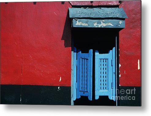 Architecture Metal Print featuring the photograph Colorful Caribbean Door by Larry Dale Gordon - Printscapes