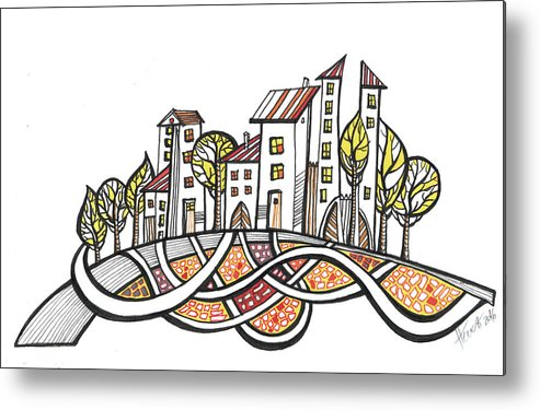 Houses Metal Print featuring the drawing Connections by Aniko Hencz