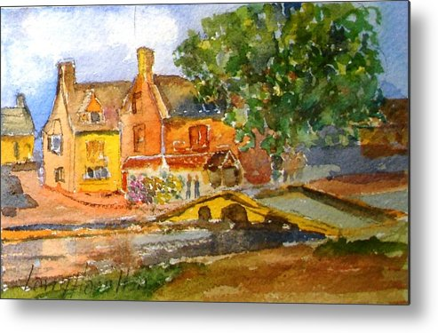 Watercolor Metal Print featuring the painting Cotswolds Town Study by Larry Hamilton