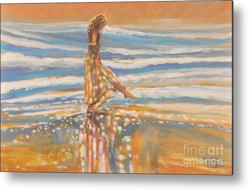 Dancing Metal Print featuring the painting Dancing In The Surf by Kip Decker