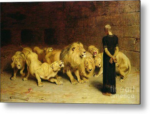 Daniel In The Lions' Den Metal Print featuring the painting Daniel In The Lions Den by Briton Riviere