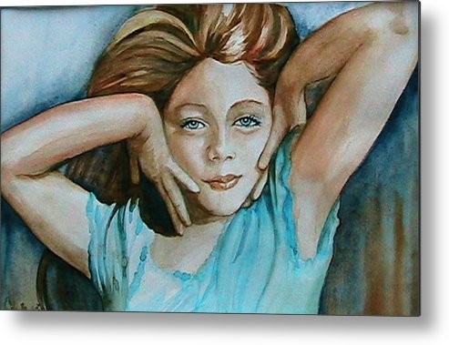 Portrait Commission Metal Print featuring the painting Diva by L Lauter