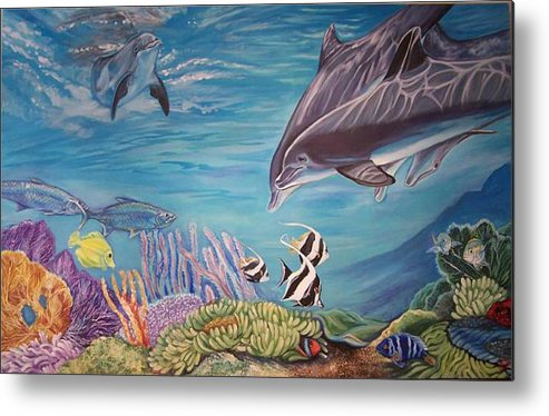 Underwater Scene Metal Print featuring the painting Dolphin Pod by Diann Baggett