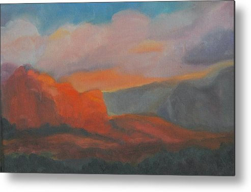 Landscape Metal Print featuring the painting Evening In Sedona by Stephanie Allison