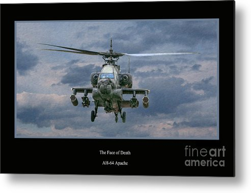 Apache Sunset Metal Print featuring the digital art Face Of Death Ah-64 Apache Helicopter by Randy Steele
