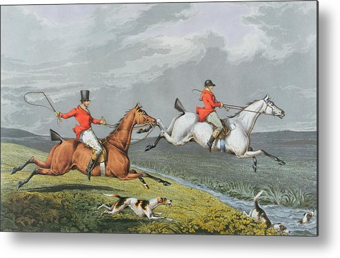 Fox Metal Print featuring the painting Fox Hunting - Full Cry by Charles Bentley
