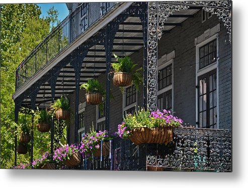 Greg Jackson Metal Print featuring the photograph French Quarter Sunlit Balcony - New Orleans by Greg Jackson