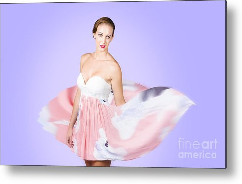 Graceful Metal Print featuring the photograph Graceful Dreamy Dancing Girl In Pink Dress by Jorgo Photography - Wall Art Gallery