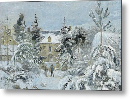 Winter Metal Print featuring the painting House At Montfoucault by Camille Pissarro