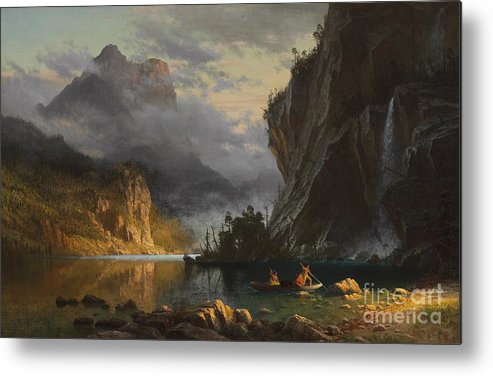 Landscape; Romantic; Romanticist; America; North America; American; North American;landscape; Rural; Countryside; Wilderness; Scenic; Picturesque; Atmospheric; Indians; Native American; Native Americans; American Indian; American Indians; Lake; River; Dramatic; Clouds; Mountains; Mountainous; Western; Rugged; Cliffs; Beach; Boat; Fishing; Spear; Spears; Waterfall Metal Print featuring the painting Indians Spear Fishing by Albert Bierstadt