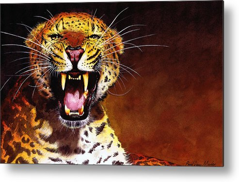 Leopard Metal Print featuring the painting Leopard by Paul Dene Marlor