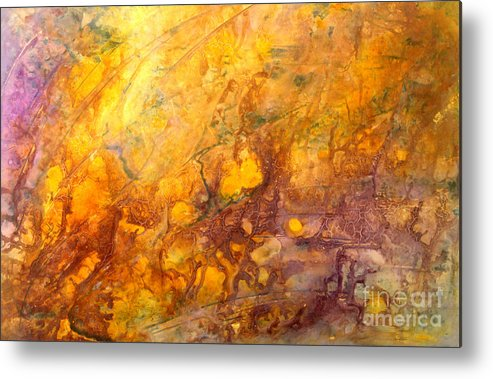 Abstract Metal Print featuring the painting Letting The Sunshine In by Valerie Travers