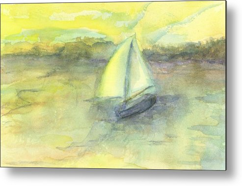 Boat Water Sea Sailboat Hillaryart Metal Print featuring the painting Little Boat by Hillary McAllister