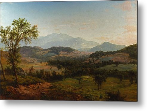 Nature Metal Print featuring the painting Louis Remy Mignot 1831-1870, Fishkill Mountains by Louis Remy Mignot