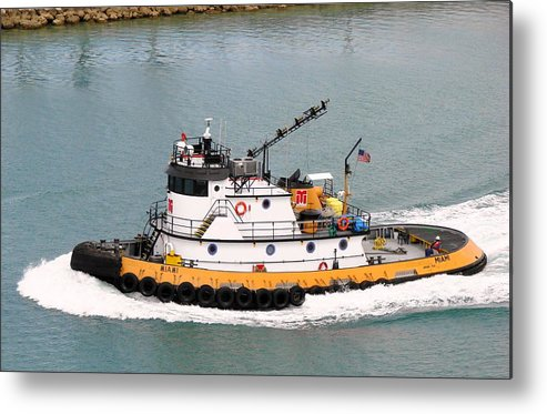 Tugboat Metal Print featuring the photograph Miami Tug by Margaret Bobb