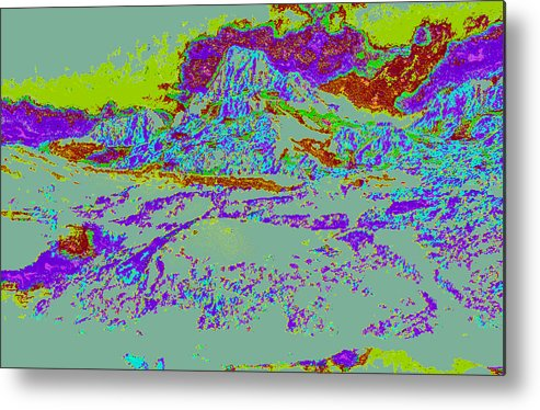 Metal Print featuring the digital art Modified Mountain Ddd4 by Modified Image