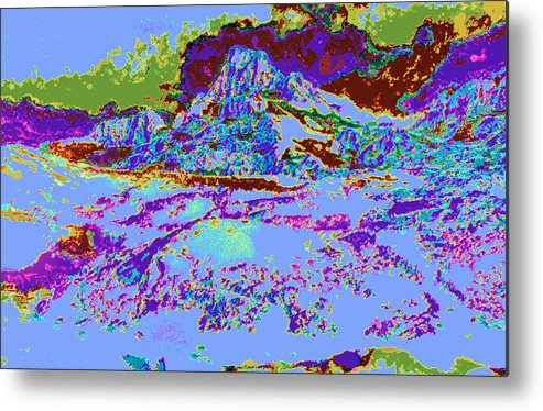 Psychedelic Metal Print featuring the digital art Modified Mountain Ddd5 by Modified Image