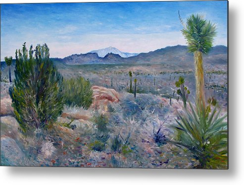 Metal Print featuring the painting Mojave Desert With Mt San Jacinto California Usa 2001  by Enver Larney