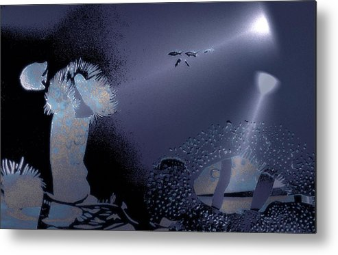 Diving Metal Print featuring the digital art Night Dive by Mushtaq Bhat