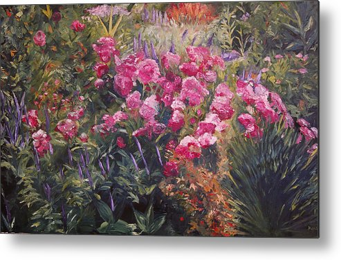 Konkol Metal Print featuring the painting Olbrich Garden Series - Garden 1  by Lisa Konkol