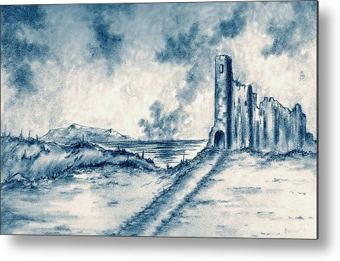 Castle Metal Print featuring the drawing Old Castle Ruins by Michael Vigliotti