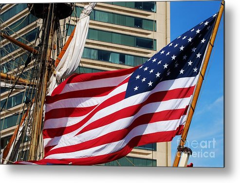 Flag Art Baltimore Travel Sailing Ship Patriotism Iconic Symbol Movement Stars And Stripes Published Image Nautical Patriotic American Flag Windows Independence Day Metal Frame Suggested Canvas Print Suitable Poster Print T Shirt Art Tote Bag Art Duvet Cover Art Throw Pillow Art Shower Curtain Art Phone Case Art Greeting Card Art Weekender Tote Bags Pouches And Now Mugs Metal Print featuring the photograph Old Glory In Baltimore by Poet's Eye