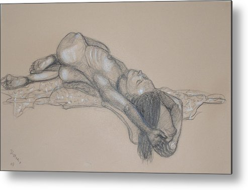 Realism Metal Print featuring the drawing Reclining Nude 1 by Donelli DiMaria