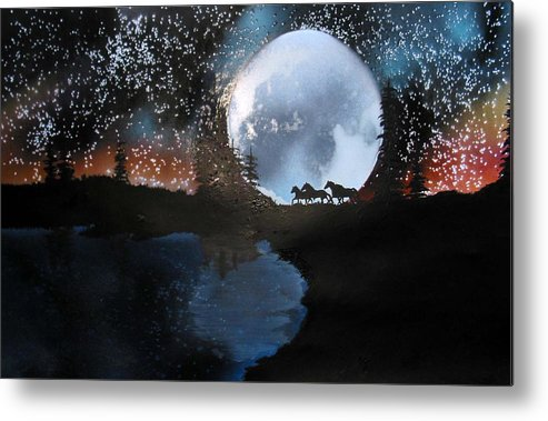 Wild Horses Moon Silouette Mountains Trees Nature Night Stars Sunset Metal Print featuring the mixed media Running Free by Ed Moore