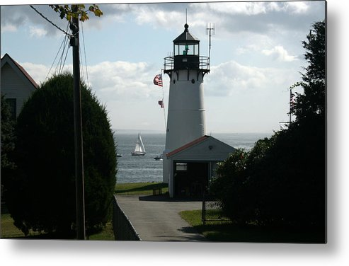 Light House Metal Print featuring the photograph Sailing By The Lighthouse by Jeff Porter