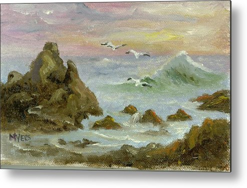 Ocean Metal Print featuring the painting Sea Coast by Rhonda Myers